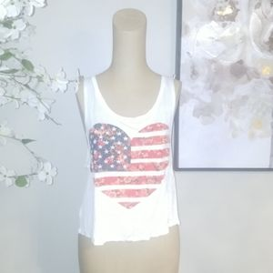 Tops - 5 for $30 Bundle. Heart American Flag Tank. Sz S
